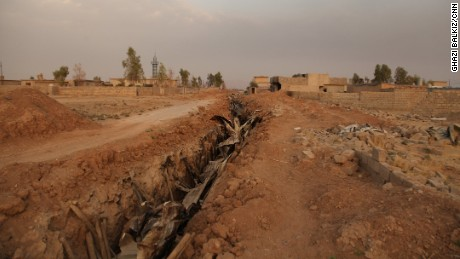 A section of an ISIS tunnel at the town of Bazwaya destroyed by a unit from the Golden Division, an elite Iraqi forces division.