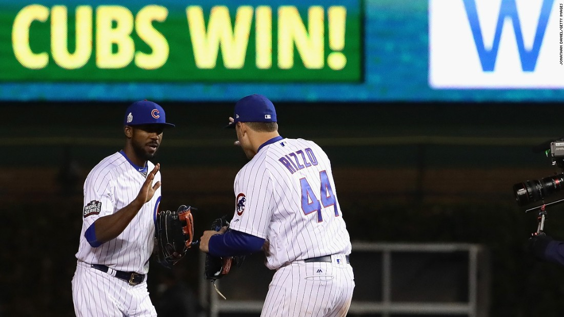 Dexter Fowler, left, and Anthony Rizzo, right, of the Cubs celebrate after beating the Indians 3-2 in Game 5.