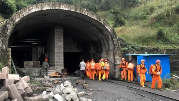 Rescuers teams at Jinshangou Coal Mine in Chongqing, southwest China.
