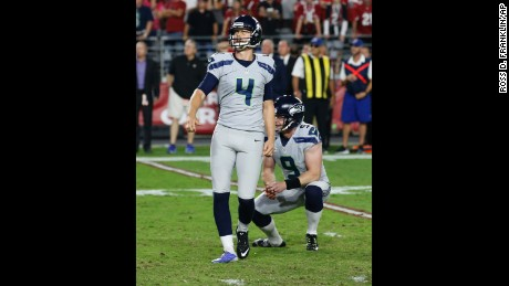 Seattle Seahawks kicker Steven Hauschka (4) reacts to missing what would have been a game-winning field goal against the Arizona Cardinals on October 23. The game ended in overtime in a 6-6 tie.