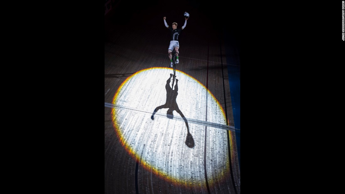 Cyclist Joachim Eilers celebrates after winning a sprint race at the Six Day London event on Sunday, October 30.