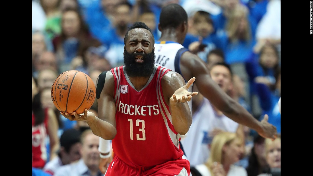 Houston guard James Harden reacts after being called for a foul in Dallas on Friday, October 28.