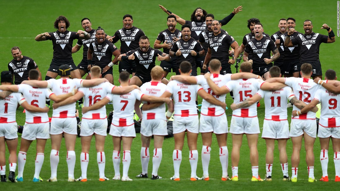 New Zealand rugby players perform a traditional haka dance prior to a Four Nations match against England on Saturday, October 29.