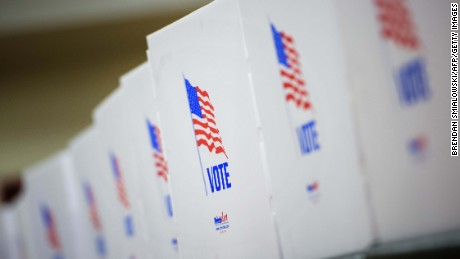 Voting booths are seen at the Potomac Community Recreation Center during early voting on October 28, 2016 in Potomac, Maryland.