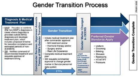 "From the Defense Department's implementation handbook, ""Transgender Service in the US Military."""