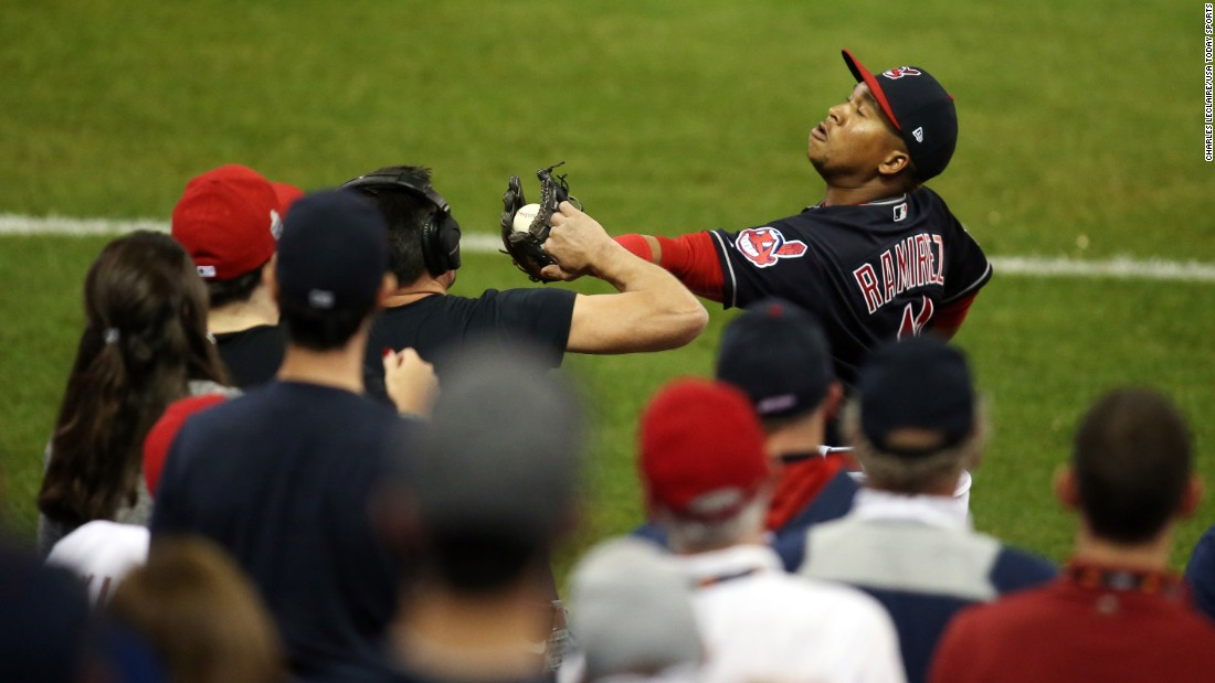 Jose Ramirez of the Indians makes a catch in the fifth inning in Game 6.