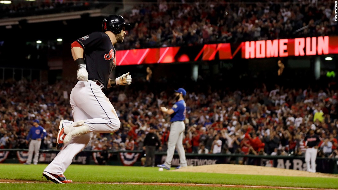 Jason Kipnis of the Indians rounds the bases after a home run during the fifth inning of Game 6.