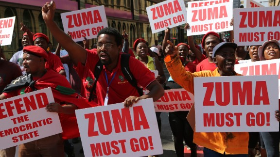 Economic Freedom Fighters supporters march in downtown Pretoria, South Africa, on Wednesday, November 2.