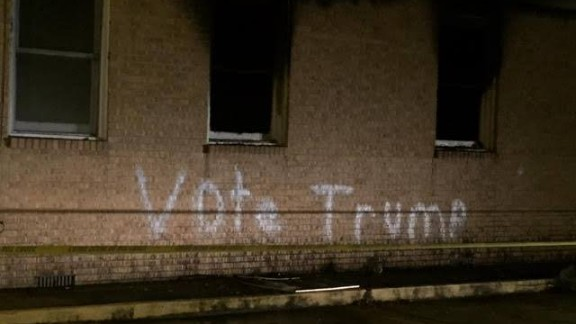 "The vandals also wrote ""Vote Trump"" in crude, white spray paint across the church."