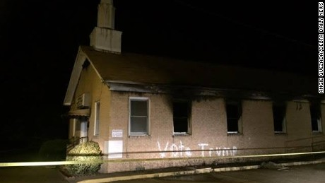 Vandals set Hopewell Baptist Church in Greenville, Mississippi, on fire Tuesday night, police say.
