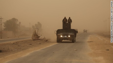 A sandstorm sweeps across the Mosul-Irbil Highway on November 1.