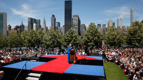 Democratic candidate Hillary Clinton, a former first lady and secretary of state, delivers a speech at a New York City park on June 13, 2015. Clinton used the first major rally of her campaign to make a populist case, declaring that the goal of her presidency would be to tip the nation