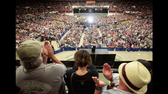 People in Madison, Wisconsin, cheer at a campaign rally for U.S. Sen. Bernie Sanders on July 1, 2015. The Vermont independent, seeking the Democratic Party