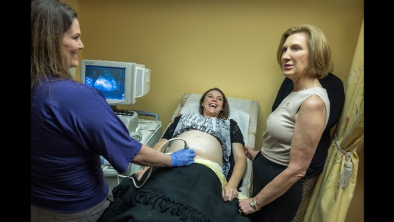 Republican presidential candidate Carly Fiorina, right, visits a pregnancy center in Spartanburg, South Carolina, on September 24, 2015. Fiorina continued her attacks against Planned Parenthood, which was under fire because of a series of secretly taped, edited videos accusing it of breaking federal laws by profiting off the sale of organs and tissues of aborted fetuses. Planned Parenthood denied it had broken any laws.