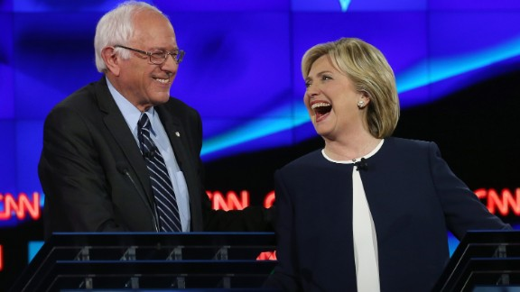 During a Democratic debate on October 13, 2015, Sanders and Clinton shared a lighthearted moment following Sanders