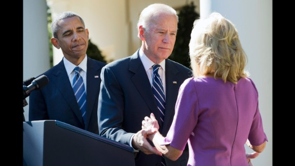 U.S. Vice President Joe Biden turns to his wife, Jill, after announcing October 21, 2015, that he would not be running for President. The announcement took place at the White House Rose Garden with President Barack Obama.