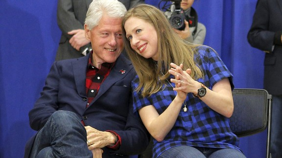 Former U.S. President Bill Clinton and his daughter, Chelsea, listen to Hillary Clinton speak in Cedar Rapids, Iowa, on January 30, 2016. Clinton went on to win the Iowa caucuses by a razor-thin margin, edging Sanders by a few percentage points. Cruz won on the GOP side.