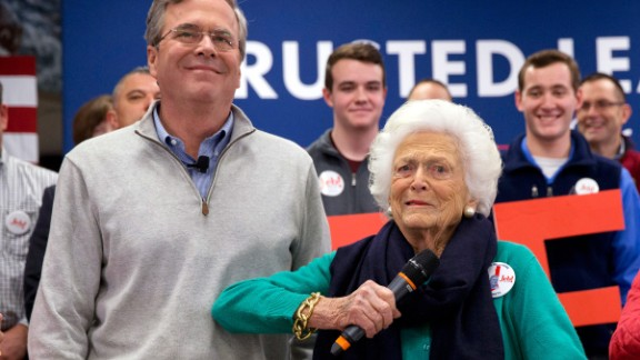 Former first lady Barbara Bush jokes with her son Jeb while introducing him at a town-hall meeting in Derry, New Hampshire, on February 4, 2016.