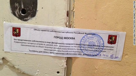 Staffers discovered this notice posted on the door of Amnesty International's offices in Moscow Wednesday morning.