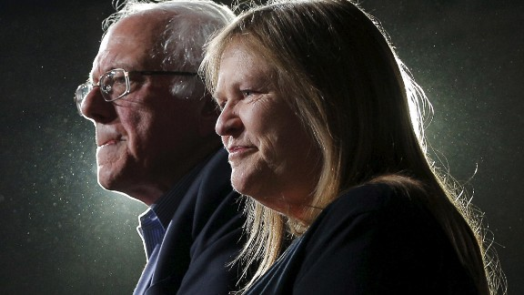 Bernie Sanders is joined by his wife, Jane, at a rally in Burlington, Vermont, on March 1, 2016. Sanders won his state