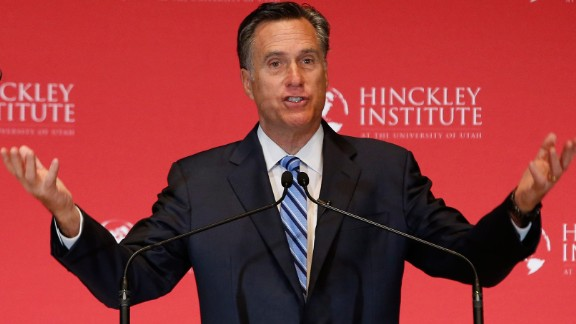 Former Massachusetts Gov. Mitt Romney gives a speech about the state of the Republican Party during a forum at the University of Utah on March 3, 2016. Romney went after Trump, calling the GOP front-runner a phony and a fraud. Trump hit back by mocking Romney