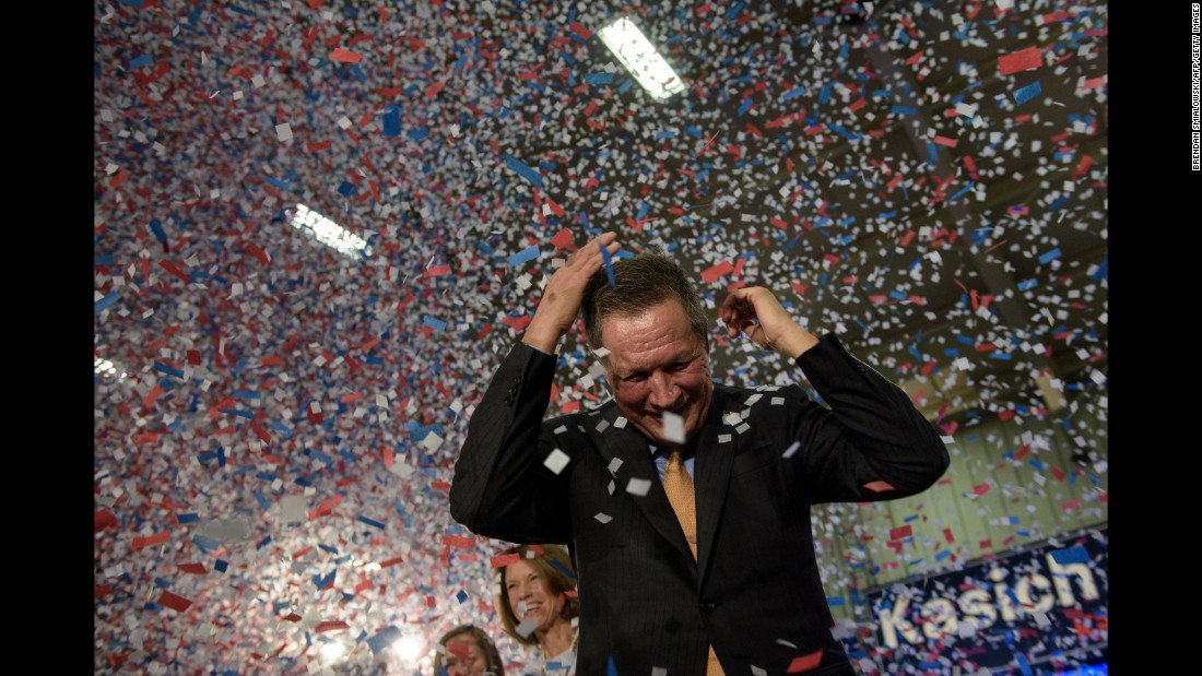 Kasich celebrates his Ohio primary victory on March 15, 2016. It was the only win of his campaign.