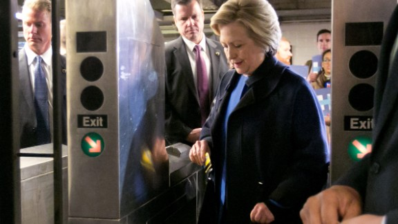 Clinton swipes a MetroCard to ride the subway in New York on April 7, 2016. The sight of her riding the rails looked out of place for a candidate more used to riding in a Secret Service-protected van and private plane.