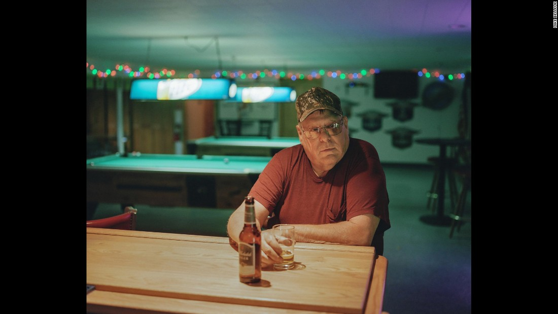 "<strong>Chris Valetin, 62, of Shelburne Falls, Massachusetts, says he fears ISIS and the America that the next generation will live in.</strong> The retired steelworker spends nights hanging out at the Fraternal Order of Eagles bar chatting with other longtime locals over beers. He told photographer Mike Belleme that the current political climate has caused him so much frustration that, for the first time since he was 18, he may not vote for a President. ""I got nieces, they got little kids. I love 'em to death, but what the hell is the world gonna be like when they get to be my age if they make it that far? I just don't understand it all."" As far as ISIS: ""Somebody's gotta go down there and take care of things, and we're the only country that's gonna do it. ... If we don't stop them over there, they're gonna come over here."""