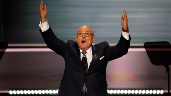 Former New York City Mayor Rudy Giuliani delivers a fiery speech on the opening night of the Republican National Convention on July 18, 2016. He unleashed a stinging barrage against Clinton