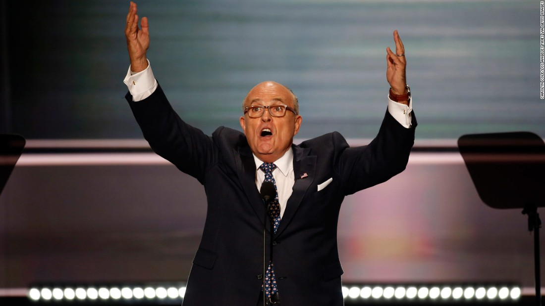 "Former New York City Mayor Rudy Giuliani <a href=""http://www.cnn.com/2016/07/18/politics/rudy-giuliani-rnc-speech/"" target=""_blank"">delivers a fiery speech</a> on the opening night of the Republican National Convention on July 18, 2016. He unleashed a stinging barrage against Clinton's character, and he attacked the Democrat over Benghazi and immigration."