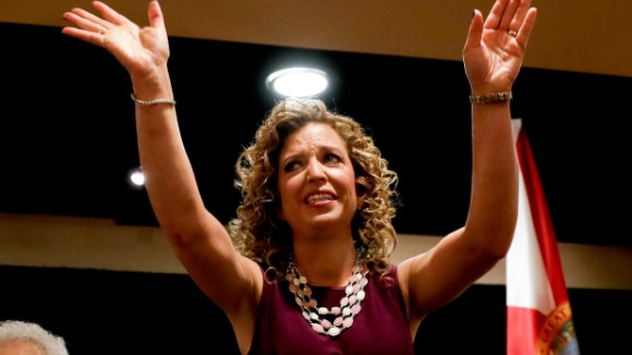 Debbie Wasserman Schultz, chairwoman of the Democratic National Committee, arrives for a delegation breakfast in Philadelphia on July 25, 2016. Wasserman Schultz resigned at the end of the convention after leaked committee emails appeared to show favoritism toward Clinton in the primary race.
