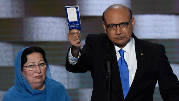 Khizr Khan holds his personal copy of the U.S. Constitution as he speaks at the Democratic National Convention on July 28, 2016. Khan
