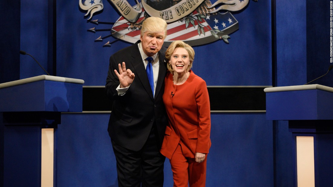 "Alec Baldwin plays Trump and Kate McKinnon plays Clinton in a ""Saturday Night Live"" skit on October 1, 2016."