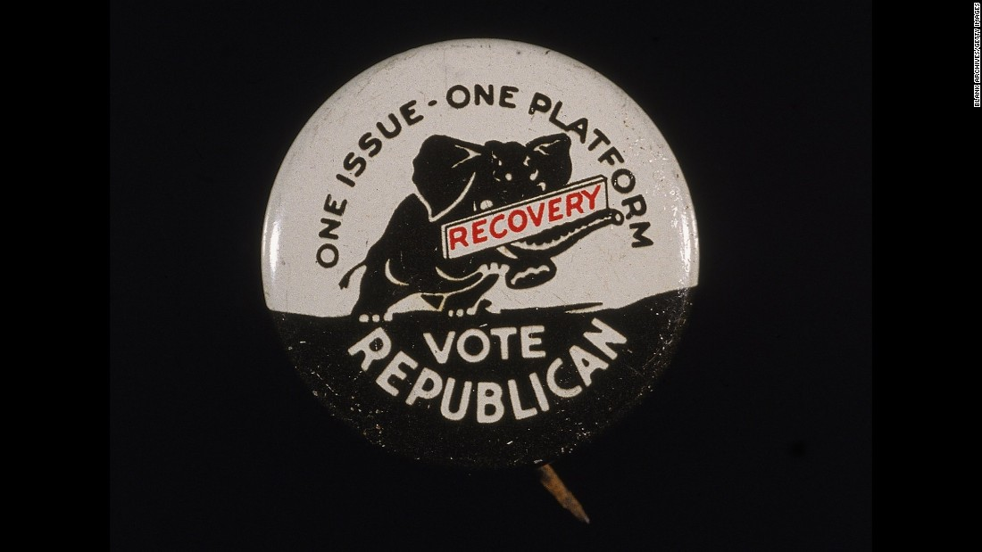 "A campaign button for President Herbert Hoover shows an elephant carrying a sign that says ""recovery"" in 1932. Hoover's administration failed to offset the devastating effects of the stock market crash of 1929, which plunged the country into the Great Depression, and Hoover was defeated by Democrat Franklin D. Roosevelt."