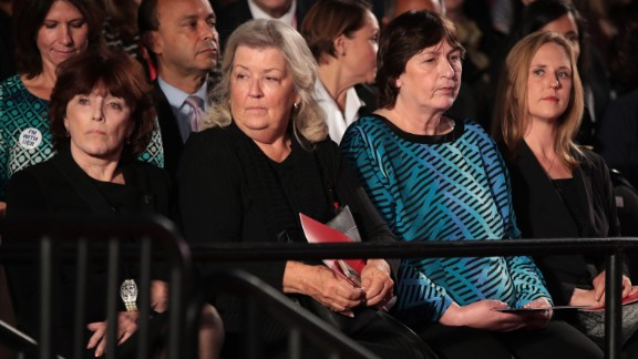 Among those attending the second debate were, from left, Kathleen Willey, Juanita Broaddrick and Kathy Shelton. Less than two hours before the debate, those three -- along with Paula Jones -- appeared in a Trump news conference to speak out against the Clintons. Willey, Broaddrick and Jones have previously accused Bill Clinton of inappropriate sexual behavior. Shelton