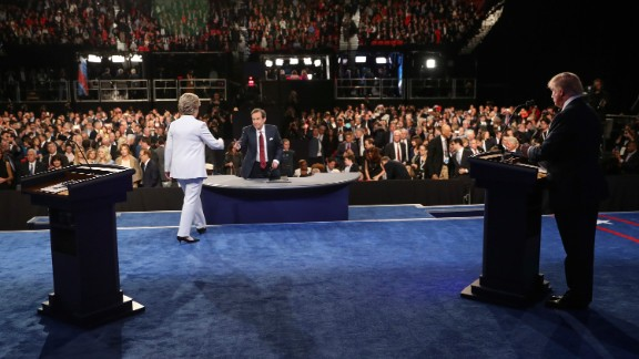 Clinton walks toward moderator Chris Wallace at the end of the third and final presidential debate on October 19, 2016. There was no handshake between her and Trump.