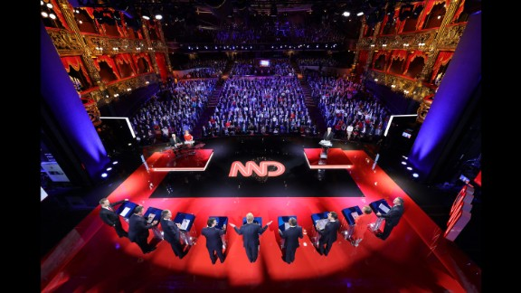 Nine of the highest-polling Republican candidates take part in a debate in Las Vegas on December 15, 2015. Vincent Laforet, a Pulitzer Prize-winning photographer and director, set up seven still cameras at the debate, which was held at a theater inside the Venetian hotel and casino.