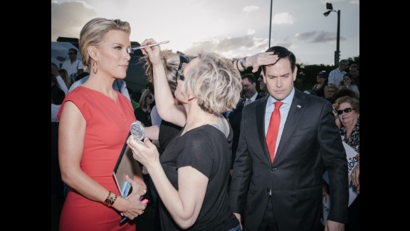 Rubio and Fox News anchor Megyn Kelly are touched up before an interview in Hialeah, Florida, on March 9, 2016. Rubio dropped out of the race a week later after losing in his home state.