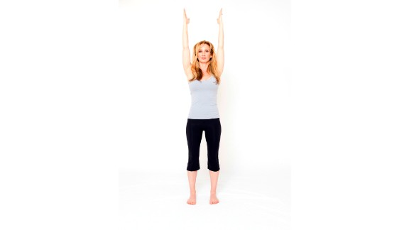 "If you want to feel powerful, strike an open-body power pose by standing with your arms overhead or outstretched or, even better, with your hands on your hips like Wonder Woman or Superman.   For an added sense of power, add a mantra or positive affirmation to your pose, like ""I feel strong."""