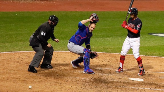 David Ross of the Cubs reacts after Jon Lester (not pictured) threw a wild pitch during the fifth inning, allowing 2 runs to score in Game 7.