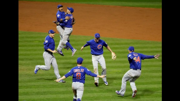 The Chicago Cubs celebrate after defeating the Cleveland Indians in Game 7 of the World Series on Thursday, November 3. The Cubs won 8-7 in 10 innings to win the series 4-3. The billy goat curse is dead. The Chicago Cubs are World Series champions at long last, winning their first Fall Classic in 108 years.