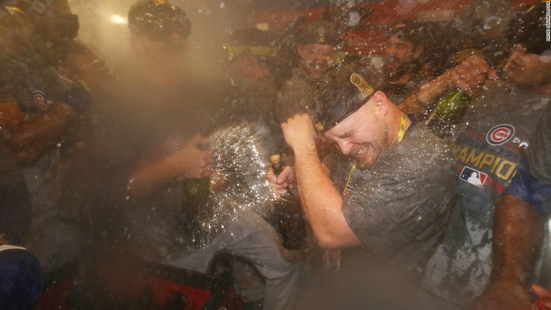 Chicago Cubs celebrate in the clubhouse after the game. Outfielder Ben Zobrist was named Series MVP.
