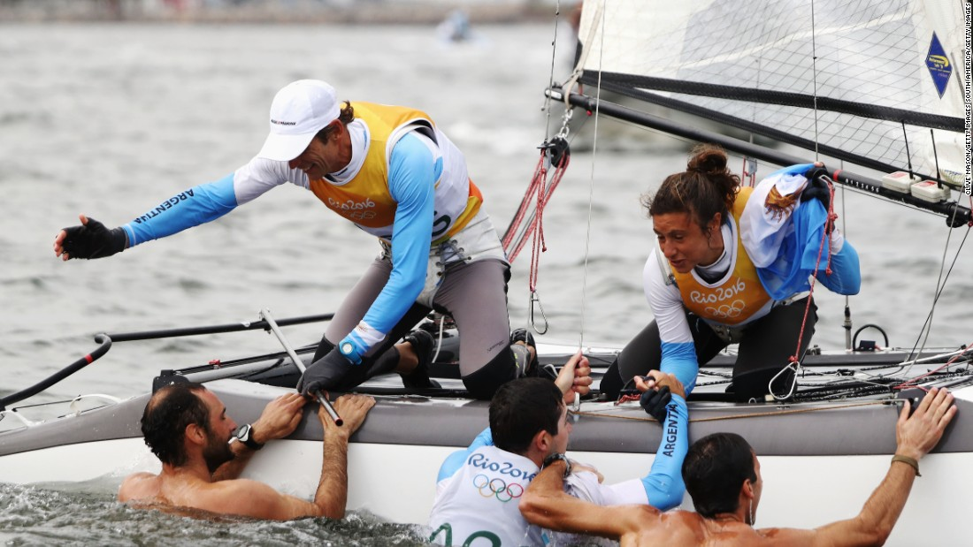 Lange was congratulated by two of his sons, who swam out and jumped on board. The Lange boys competed for Argentina in the 49er skiff class, finishing seventh.