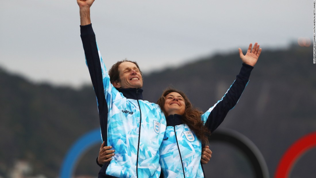 Santiago Lange won gold with Cecilia Carranza Saroli for Argentina in the Nacra 17 mixed class at the Rio Olympics.