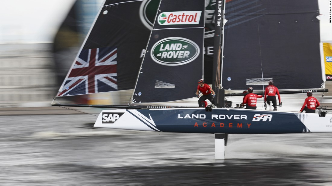 The Land Rover BAR team moving at high speed at the St Petersburg leg of the Extreme Sailing Series. Eugenia Bakunova froze the action.