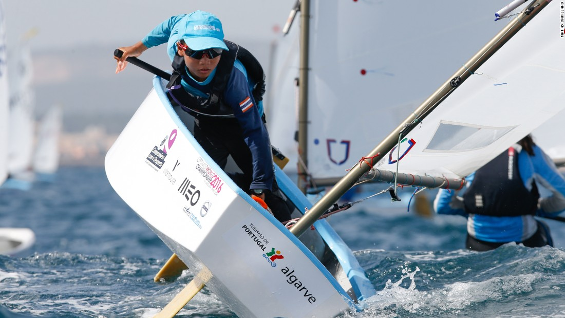 Thai competitor Yongyuennarn Jedtavee is photographed by Matias Capizzno at the Optimist Worlds in Vilamoura, Portugal.