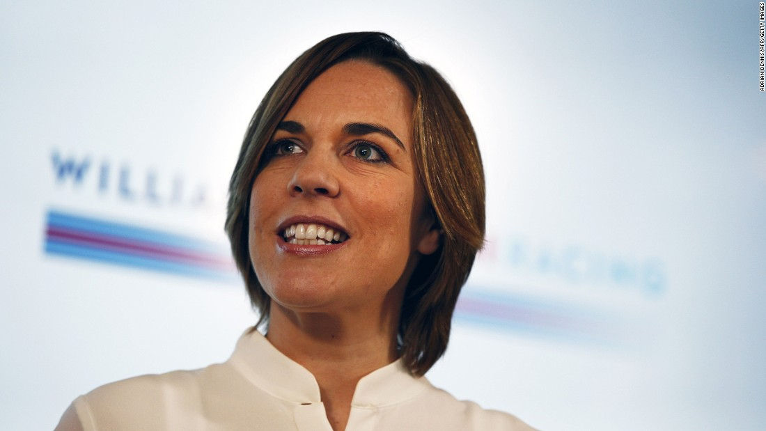 Team principal Claire Williams speaking at the unveiling of the 2017 driver line-up at the team's headquarters in Grove, Oxfordshire.