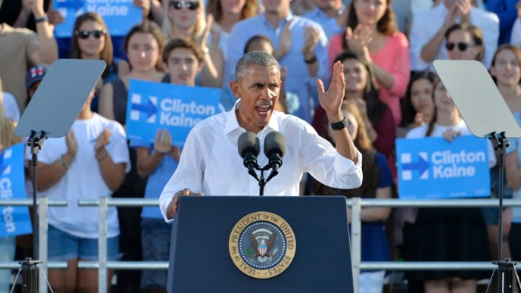 U.S. President Barack Obama speaks to a crowd of 16,000 people while campaigning for Democratic Presidential nominee Hillary Clinton at the University of Chapel Hill on November 2, 2016 in Chapel Hill, North Carolina.