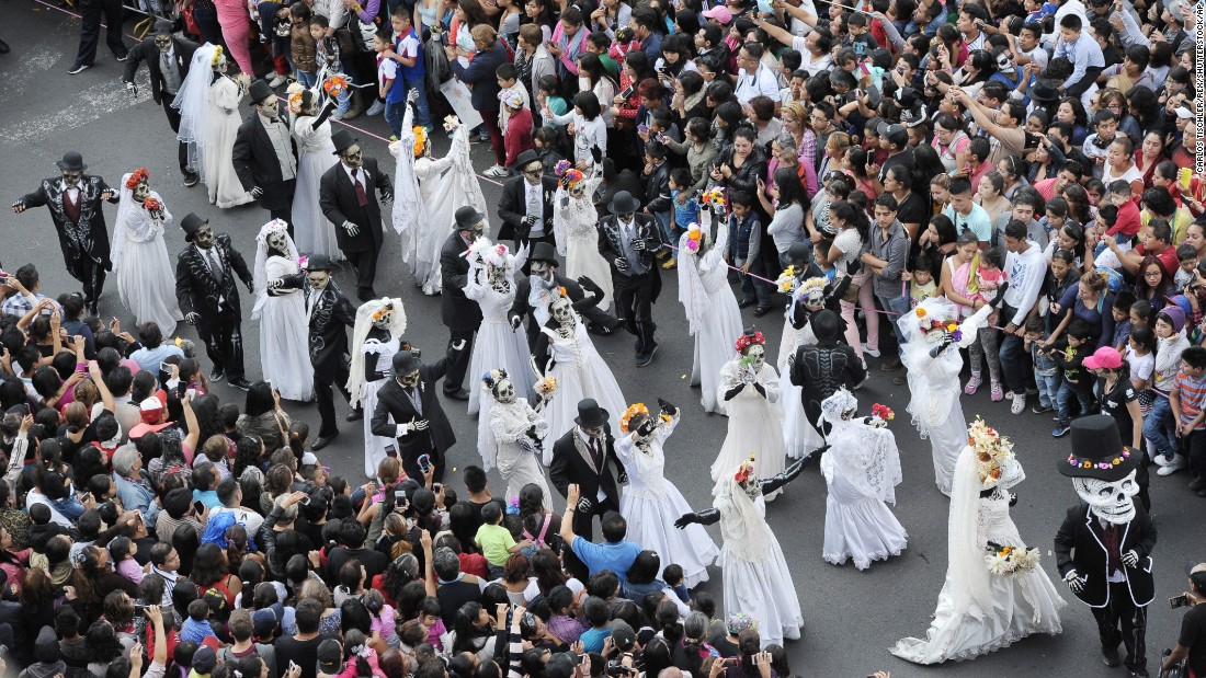 People in Mexico City take part in Day of the Dead celebrations on Saturday, October 29.