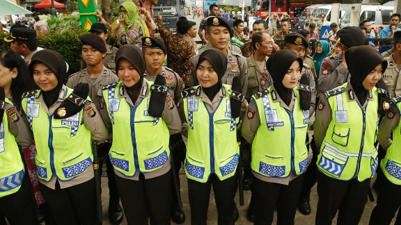 Indonesian policewomen stood guard during the protest outside Jakarta